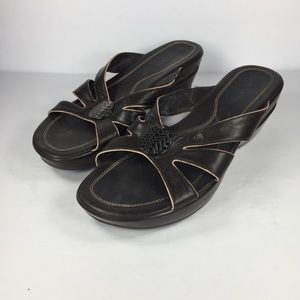 Cole Haan Brown Leather Wedge Sandal Slides Sz 9 B